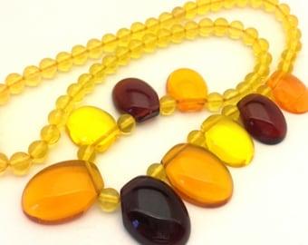 Amber Necklace Resin Pressed Golden Cognac Honey Yellow Beads Women Handmade