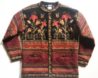 1980s Artistic Floral Intarsia Wool Sweater Jacket