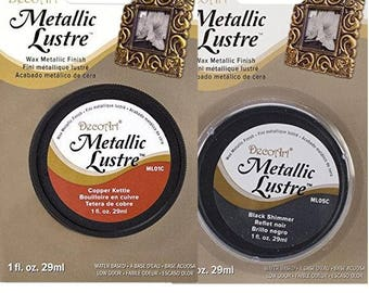 DecoArt Metallic Luster concentrated pigment Buffs to a brilliant shine Adheres to most surfaces. Metal Water-based non-toxic
