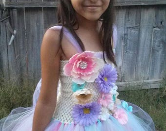 Pastels or other colors with Flowers Costume Flower Girl Tutu Dress