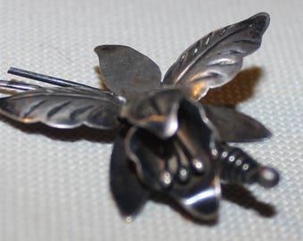 Silver Vintage Flower Brooch Makers Mark