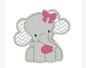 25% OFF Girl Elephant Applique Embroidery Design - Instant Download