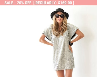 Sparkling Silver Sequin Mini Dress 1103