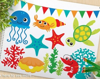 Under the Sea (#3) Clipart, Starfish, Sea Shells, ocean, beach, jellyfish, octopus, crab, turtle, commercial use, vector clipart, SVG Cut