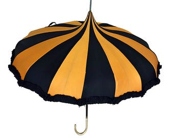 Vintage Parasol Umbrella // Black Yellow Stripes // E. Hollander& Son