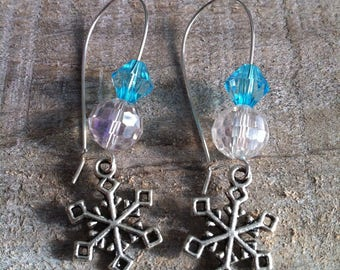 Snowflakes earrings large silvery turquoise 3 clasps
