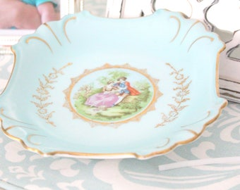 ARTIST SIGNED, Porcelain, Courting Couple, Turquoise and Gold Plate, Ornate Plate by Arnart - ca. 1953+