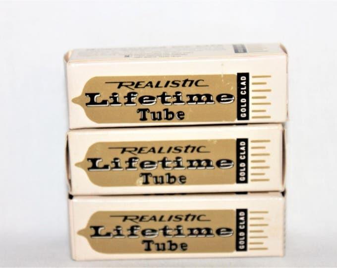 Vintage 1970s Set of Three Realistic Lifetime vacuum Tubes, 6BE6 & 6BQ7A