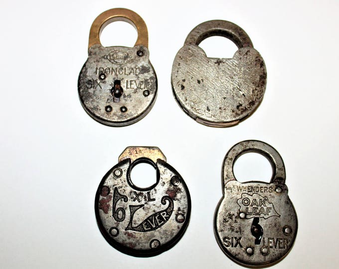 Four Vintage Six Lever Padlocks