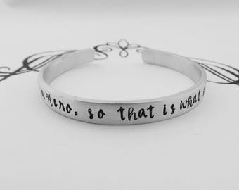 She needed a Hero, so that is what she became Hand Stamped Bracelet - Inspirational Jewelry - Strong Women - kg13