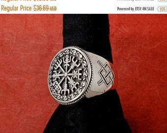 ON SALE ON Sale 11% Sterling Silver Icelandic Vegvísir Ring, A Protection Symbol, Magical Staves Compass, Free Shipping