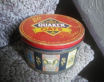 Vintage Quaker Oats Tin - 1983 Old Fashioned Quaker Oats Tin - Vintage Kitchen Decor