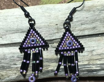 Peyote Bead Earrings Native Earrings Fringe Bead Earrings Seed Bead Earrings Purple Bead Earrings Beadwork Earrings Beadwoven Earrings