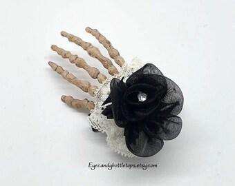 Black Rose Skeleton Hand Hair Clip