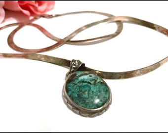 Super Sterling Turquoise Pendant- Vintage 22 Inch Sterling Necklace w Sterling Turquoise Pendant - Neck-7101a-070917035