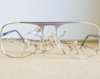 Vintage 70's Eyeglass/Aviator/New Old Stock/1970's Silver Toned Made In Japan very cool design Eyeglasses Retro