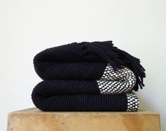 Dark Gray knit throw blanket Moroccan style, Mudcloth blankets, Boyfriend gift, Uruguay merino wool