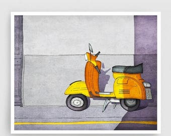 30% OFF SALE: Paris Art Print - Vespa (yellow) - Paris Vespa Illustration Print Paris decor Home decor Nursery art Kids wall art Yellow Pari