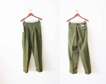 90s Pants / Trouser Pants / Green Pleated Pants / High Waisted Pants / Deadstock / 1990s Pants Small / Vintage Slacks / Pants 28
