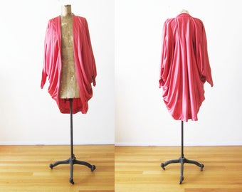 Vintage 70s Draped Cardigan - Open Front Cardigan - Coral Red Slouchy Jacket - 1970s Clothing - Bohemian Cardigan - Boho Long Cardigan