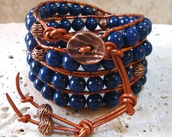 Lapis Lazuli & Copper Handmade Beaded Leather 4-Wrap Bracelet