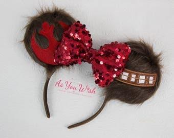Custom Made to Order Chewie  Wookie Star Rebel fur ears