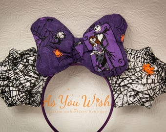 No So Scary Halloween Jack and Sally Mouse ears