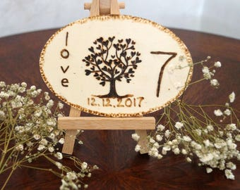 Woodland Wedding Rustic Table Numbers with Easel , Tree of Life wedding date monogram wood burned table numbers