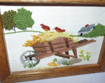 Vintage Charming wheelbarrow farm Crewel Finished & wood Framed Picture Farm life decor