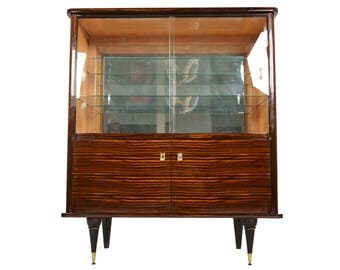 French Art Deco Dry Bar Bookcase in Macassar