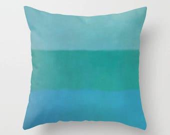 Green & Blue Wide Stripe Print Decorative Pillow   Modern Accent Pillow   Sofa Pillow   Throw Pillow   Decorator Pillow   New Home Gift