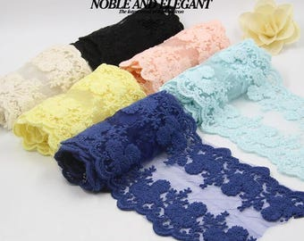 Sweet Colorful Lace Accessories/Dress Fabric Ribbon/DIY Creative Handmade Transparent Polyester Cotton Lace Tape Art/1M''PCS