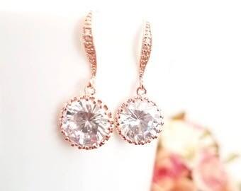 ROSE GOLD, Gold, CLEAR Wedding Earrings, bridal Earrings, Lux Cubic,Statement Earrings , Clear Earrrings, Valentine Wedding Bridesmaid Gift