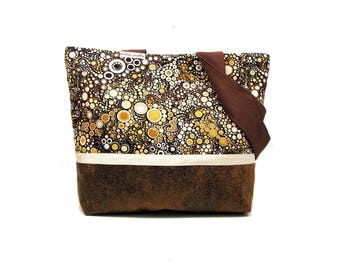 tote bag brown and beige bubbles , shoulder ba in leatherette and effervescence fabric , brown graphic tote bag , women gift