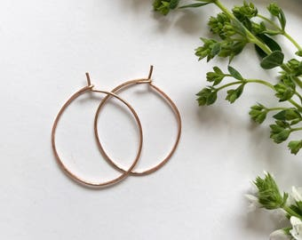Lightly hammered rose gold hoop earrings - minimalist earrings, simple rose gold hoops, big hoop earrings, rose gold hoops