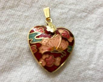 Vintage Cloisonné Heart Butterfly Pendant