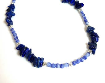 dark blue lapis lazuli gemstone chip necklace cobalt blue bead necklace stone necklace single strand beaded jewelry necklaces for women