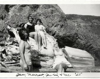 Old Photo Women and Girl wearing Swimsuits at the Beach 1940s Photograph Snapshot vintage