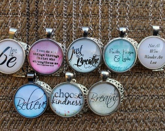 Silver Collection Faith & Inspirational Essential Oil Diffuser Aromatherapy Charm Necklaces
