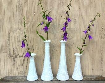 Milk Glass Bud Vases - Cottage Chic - Vintage Wedding Milkglass Decor
