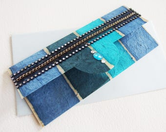 Envelope pouch for gift - congratulations card, birthday Invitation - artist created, unique piece