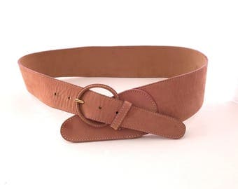 90's Pink Calf Leather Wide Waist Belt 38 Inches, Ritz Soft Leather Wide Waist Belt Pink 38', Medium Large Waist Belt Pink Calf Leather 90's