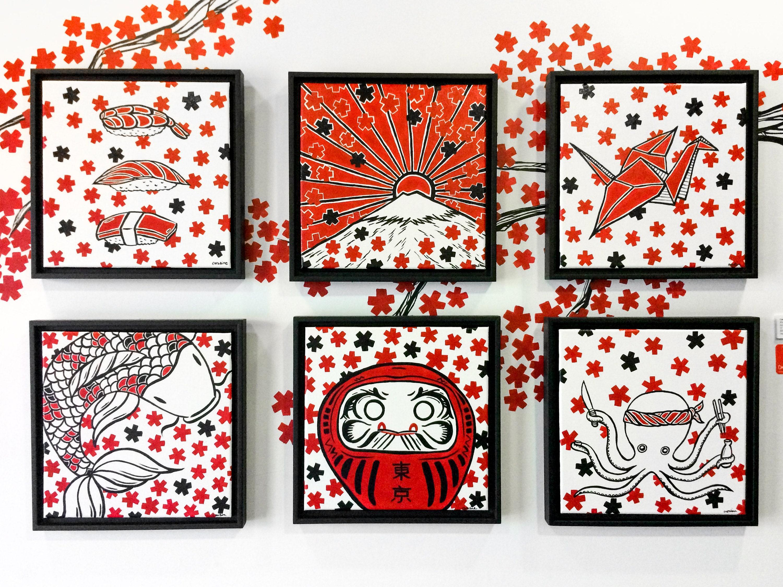 Japanese Mural Paintings - Tokyo Restaurant by Caroline Truong