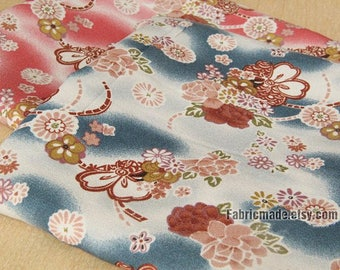 Kimono Fabric Vintage looking Blue Red With Large Chrysanthemum Flower Crepe Fabric- 1/2 Yard