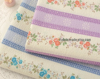 Little Floral Bubble Cotton Fabric, Purple Blue Rose Flower Stripes Fabric For Clothing Craft -1/2 yard