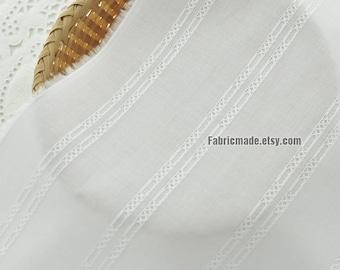 White Jacquard Stripes Cotton Fabric For Girls Clothing Dress - 1/2 yard