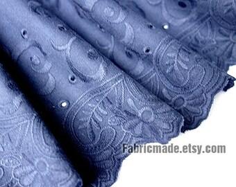 Navy Lace Fabric, Eyelet Border Fabric, Eyelet Embroidery Cotton Linen Lace, Scalloped Edges-1/2 yard
