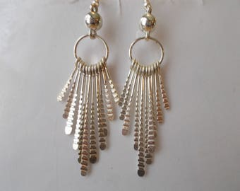 Silver Tone Hoop Earrings with Silver Tone  Dangles