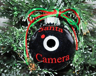 Santa Spy Camera Ornament, Shatterproof/Plastic Ornament, Elf Santa Ornament, Christmas Ornament, Gift Exchange Idea, Glitter Ornament