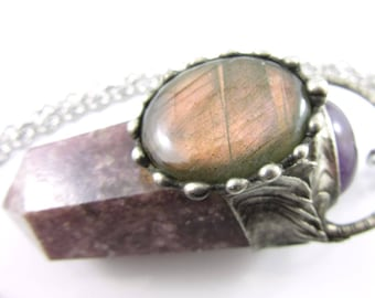 the lavender faerie - lepidolite, pink labradorite & amethyst crystal pendant